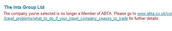 Página de la ABTA donde se anuncia el cese de actividad de Inta Group
